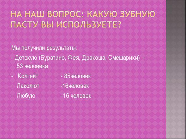 Мы получили результаты: - Детскую (Буратино, Фея, Дракоша, Смешарики) - 53 ч...