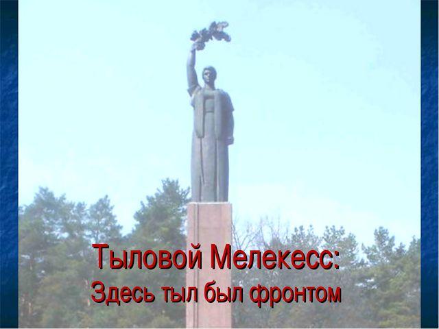 Тыловой Мелекесс: Здесь тыл был фронтом