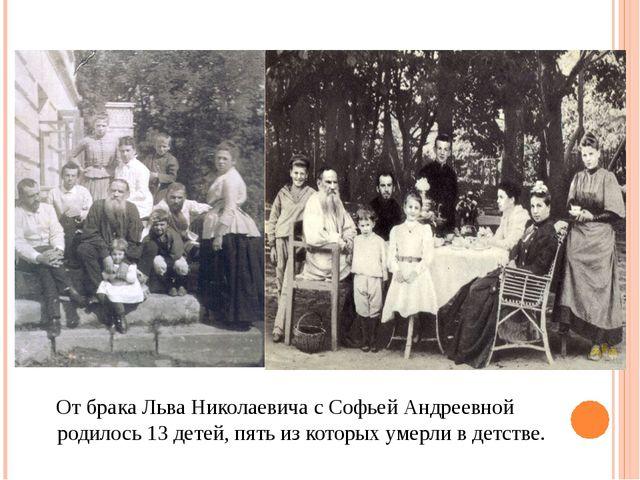 От брака Льва Николаевича с Софьей Андреевной родилось 13 детей, пять из кот...