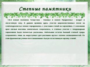 Степные памятники Вся южная половина Татарстана - Закамье и южное Предволжье