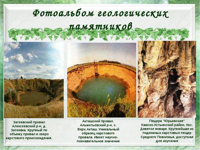 Фотоальбом геологических памятников Затеевский провал Алексеевский р-н, д. За...