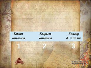 1 2 3 Казан ханлыгы Кырым ханлыгы Болгар дәүләте