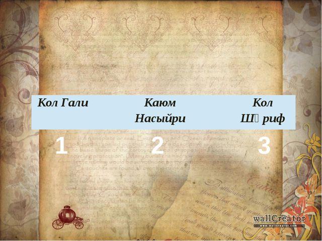 1 2 3 Кол Гали Каюм Насыйри Кол Шәриф
