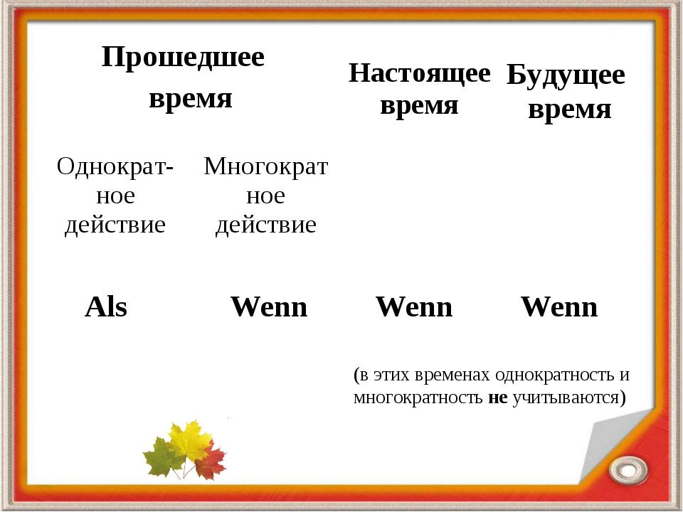 Als Wenn Wenn Wenn (в этих временах однократность и многократность не учитыва...