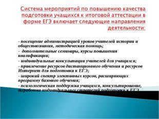 - посещение администрацией уроков учителей истории и обществознания, методиче