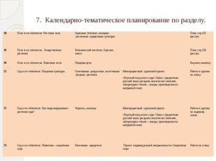 7. Календарно-тематическое планирование по разделу. 18 Поле и его обитатели.