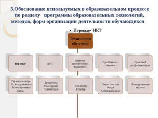 5.Обоснование используемых в образовательном процессе по разделу программы об
