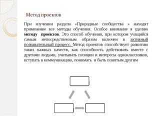 Метод проектов При изучении раздела «Природные сообщества » находят применени