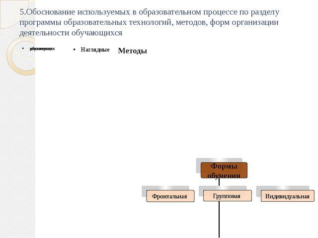 5.Обоснование используемых в образовательном процессе по разделу программы об...