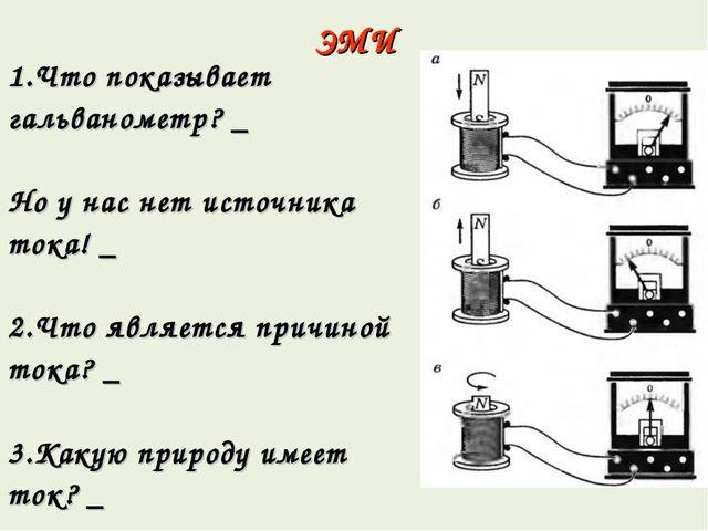 ЭМИ 1.Что показывает гальванометр? _ Но у нас нет источника тока! _ 2.Что явл...