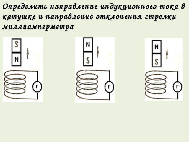 Определить направление индукционного тока в катушке и направление отклонения...