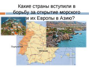 Какие страны вступили в борьбу за открытие морского пути их Европы в Азию? По