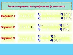 Решите неравенство (графически) (в конспект): Вариант 1х2+4х-5 ≤ 01) (-∞;-5