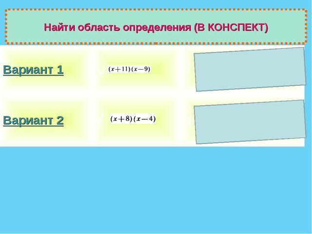 Найти область определения (В КОНСПЕКТ) √ Вариант 1 ] (─∞;-11]U [9; +∞)...