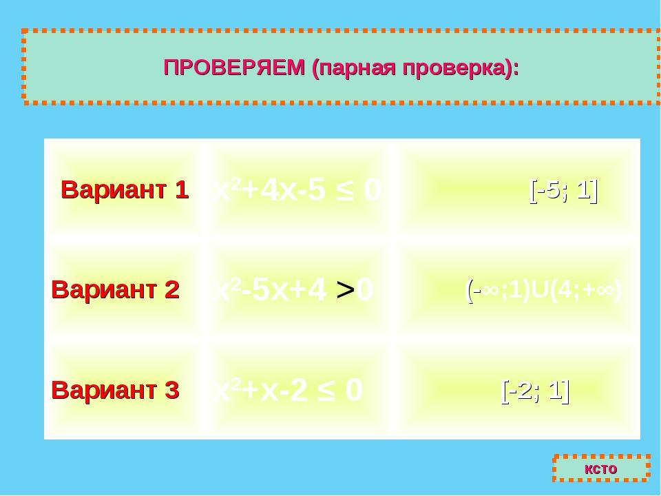 ПРОВЕРЯЕМ (парная проверка): ксто Вариант 1х2+4х-5 ≤ 0 [-5; 1] Вариант 2х2...