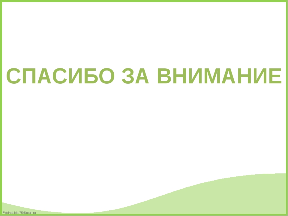 СПАСИБО ЗА ВНИМАНИЕ FokinaLida.75@mail.ru