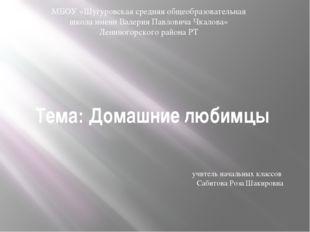 Тема: Домашние любимцы МБОУ «Шугуровская средняя общеобразовательная школа им