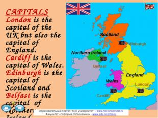 CAPITALS London is the capital of the UK but also the capital of England. Car