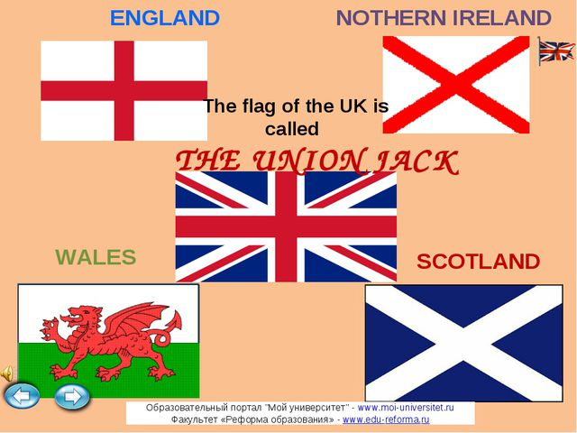 The flag of the UK is called SCOTLAND WALES ENGLAND NOTHERN IRELAND THE UNION...
