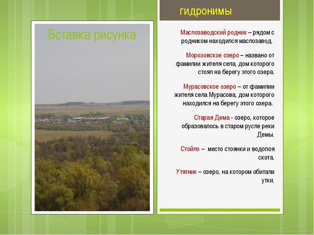 гидронимы Маслозаводский родник – рядом с родником находился маслозавод. Мор...