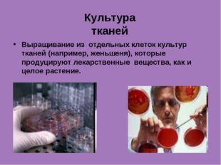 Культура тканей Выращивание из отдельных клеток культур тканей (например, жен