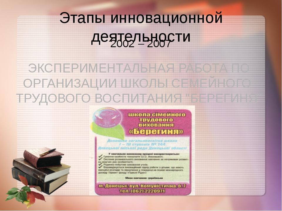 Этапы инновационной деятельности 2002 – 2007 ЭКСПЕРИМЕНТАЛЬНАЯ РАБОТА ПО ОРГА...