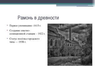 Рамонь в древности Первое упоминание -1615 г. Создание опытно-селекционной с