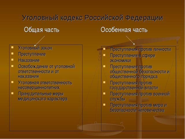 Уголовный кодекс Российской Федерации Уголовный закон Преступление Наказание...
