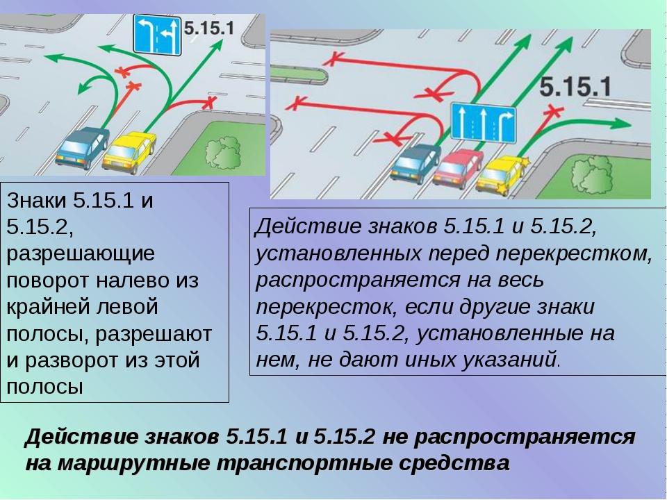 Действие знаков 5.15.1 и 5.15.2, установленных перед перекрестком, распростра...