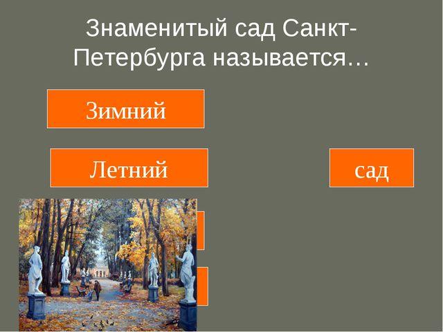 Знаменитый сад Санкт-Петербурга называется… Зимний Летний Вишневый Осенний сад