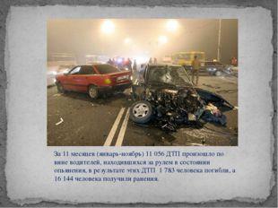 За 11 месяцев (январь-ноябрь) 11 056 ДТП произошло по вине водителей, находив
