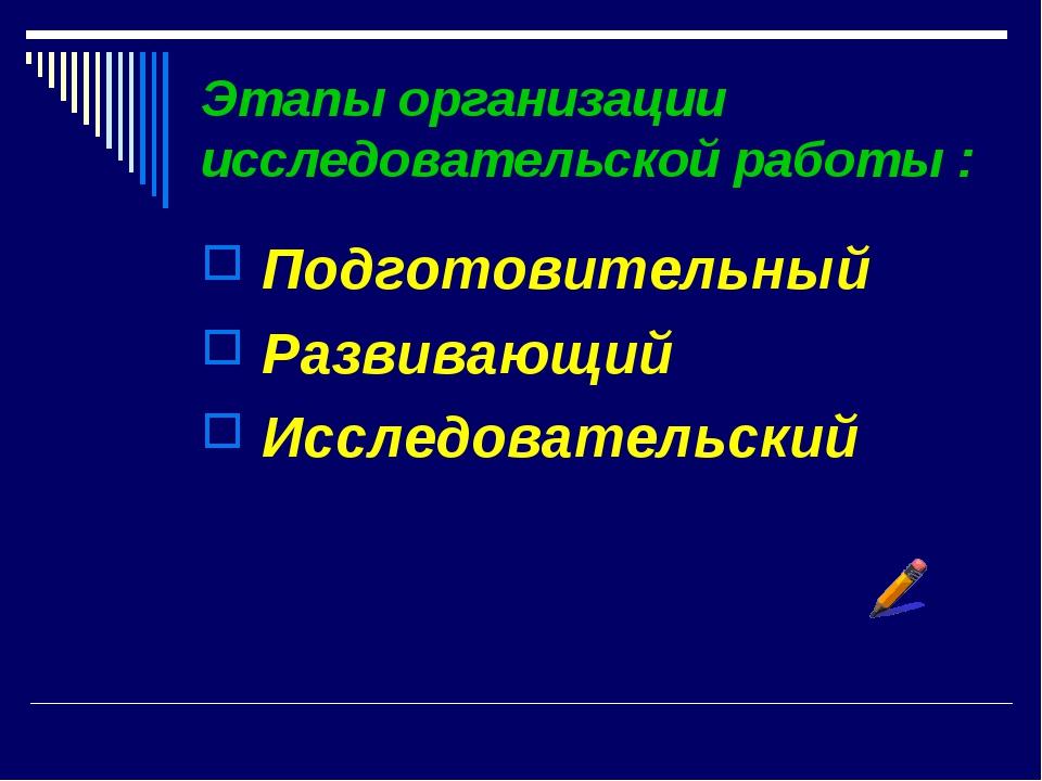 Этапы организации исследовательской работы : Подготовительный Развивающий Исс...