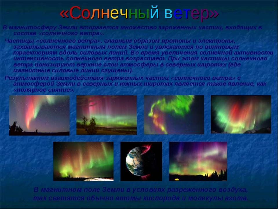 «Солнечный ветер» В магнитосферу Земли вторгается множество заряженных частиц...