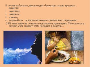 В состав табачного дыма входит более трех тысяч вредных веществ: никотин, мыш