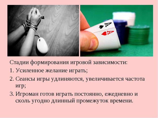 Стадии формирования игровой зависимости: Усиленное желание играть; Сеансы игр...