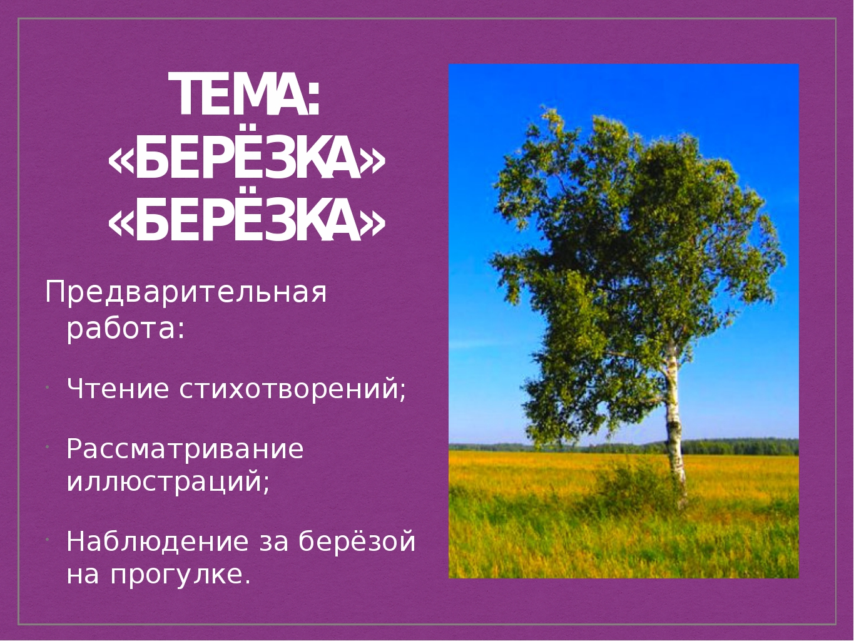 ТЕМА: «БЕРЁЗКА» Предварительная работа: Чтение стихотворений; Рассматривание...