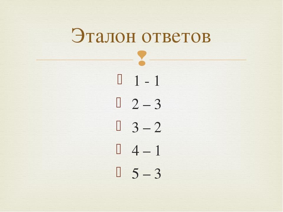 1 - 1 2 – 3 3 – 2 4 – 1 5 – 3 Эталон ответов 