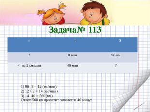 Задача№ 113 1) 96 : 8 = 12 (км/мин). 2) 12 + 2 = 14 (км/мин). 3) 14 · 40 = 56