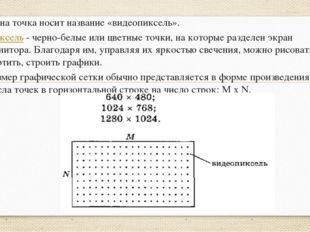 Одна точка носит название«видеопиксель». Пиксель - черно-белые или цветные т