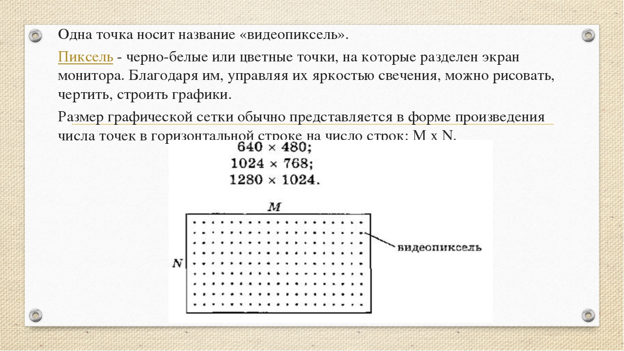 Одна точка носит название«видеопиксель». Пиксель - черно-белые или цветные т...