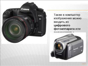 Также в компьютер изображения можно вводить из цифрового фотоаппарата или вид