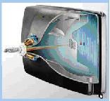 Принципы работы монитора Существуют мониторы, основанные на разных физических принципах. Самыми распространенными являются мониторы на основе электронно-лучевой трубки — ЭЛТ-мониторы. На экране такого монитора пиксель образуется люминесцирующнм веществом, которое светится под воздействием луча, испускаемого электронной пушкой. Такой луч пробегает по порядку (сканирует) все строки сетки пикселей. При этом он модулируется: на точки, которые должны светиться, падает, а на темных точках прерывается. Поскольку после прекращения воздействия электронного луча на точку экрана ее свечение быстро затухает, то сканирование периодически повторяется с высокой частотой (75-85 раз в секунду и более). Первоначально на компьютерах использовались черно-белые мониторы. На черно-белом экране пиксель, на который падает электронный луч, светится белым цветом, Неосвещенный пиксель — черная точка. При изменении интенсивности электронного потока получаются промежуточные серые тона (оттенки).