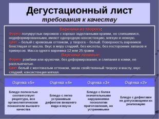 Дегустационный лист требования к качеству Вареники из творога: Форма полукруг