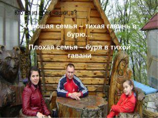 Хорошая семья – тихая гавань в бурю… Плохая семья – буря в тихой гавани