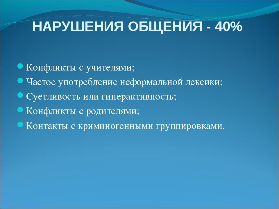 НАРУШЕНИЯ ОБЩЕНИЯ - 40% Конфликты с учителями; Частое употребление неформальн...