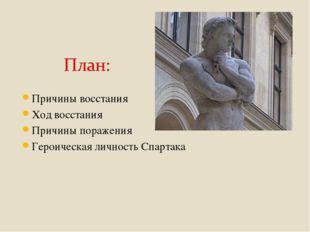 Причины восстания Ход восстания Причины поражения Героическая личность Спартака