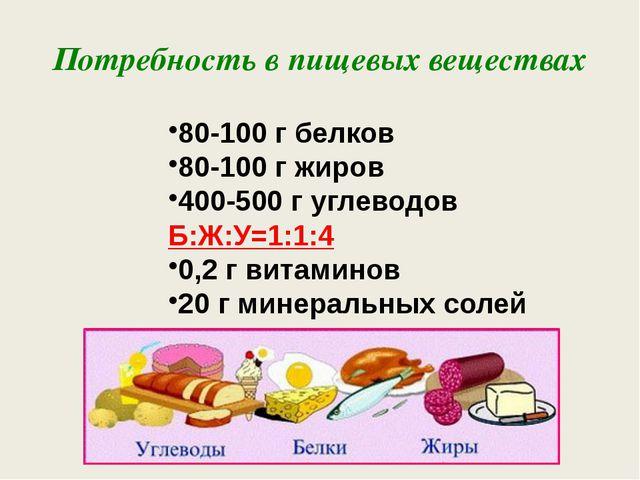 Потребность в пищевых веществах 80-100 г белков 80-100 г жиров 400-500 г угле...