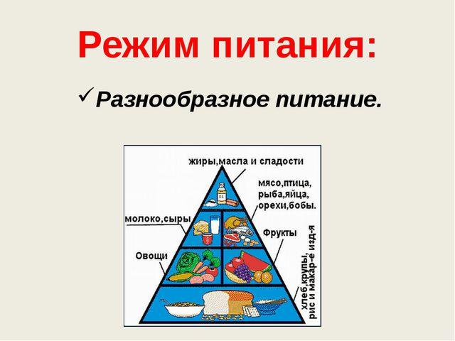 Разнообразное питание. Режим питания: