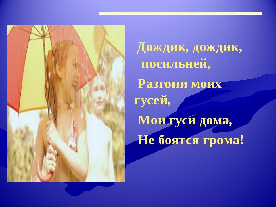 Дождик, дождик, посильней, Разгони моих гусей, Мои гуси дома, Не боятся грома!