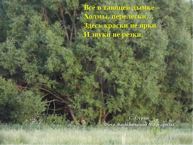 Всё в тающей дымке – Холмы, перелески… Здесь краски не ярки И звуки не резки....